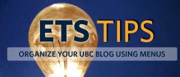 Organize pages in your UBC Blog using Menus
