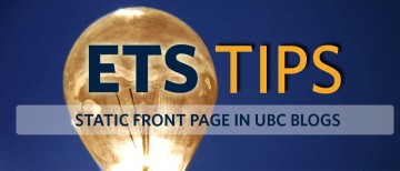 Set a Static Front Page in UBC Blogs